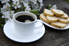 Cup of coffee and white flowers Royalty Free Stock Photography