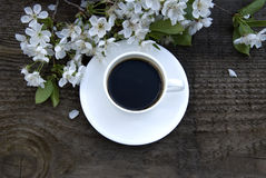 Cup of coffee and white flowers Royalty Free Stock Images