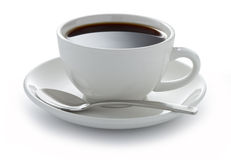 Cup Coffee Black White. A white coffee cup full of black coffee on a white background Stock Images