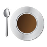 Cup of coffee. White mug of coffee and saucer. Illustration on white Royalty Free Stock Images