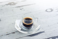 Cup of coffee on white table Royalty Free Stock Photography