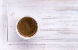 Cup of coffee on white wooden salver Royalty Free Stock Photos