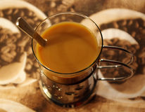 Cup of coffee whith milk Stock Photos