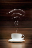 Cup of coffee with wi-fi icon shaped smoke Royalty Free Stock Photos