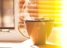 Cup of Coffee on a window sill. Morning cup of coffee on a window sill. Steam above the ceramics cup royalty free stock photo
