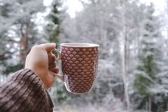 Cup of coffee in winter stock photography