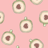 Cup of coffee witch cinnamon heart ornament. Hand drawn cute cartoon seamless pattern. Texture background tile. Cup of coffee witch cinnamon heart ornament. Hand vector illustration