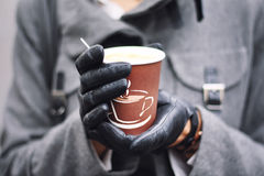 Cup of coffee. In woman's hands Stock Photo