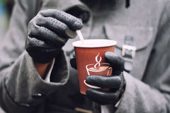 Cup of coffee. In woman's hands Royalty Free Stock Images