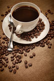 Cup of coffee on wood background Royalty Free Stock Photography