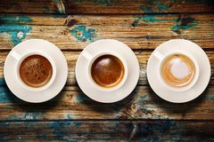 Italian coffee on wood background. Cup of coffee on wood background Royalty Free Stock Images