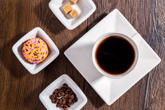 Cup of coffee on wood table Stock Photos