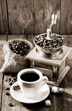 Cup of coffee on wood Stock Photos