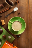 Cup of coffee on wood Royalty Free Stock Photo