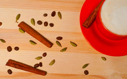 Cup of coffee on  wooden background Royalty Free Stock Photos