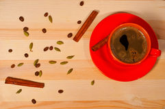 Cup of coffee on  wooden background Royalty Free Stock Photo