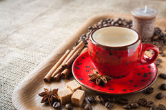 Cup of coffee on wooden background decorated with spices Royalty Free Stock Images
