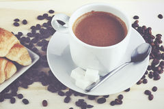 Cup of coffee. On a wooden table Stock Photography