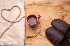 A cup of coffee on the wooden table Stock Photos