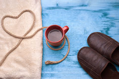 A cup of coffee on the wooden table Royalty Free Stock Images