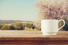 Cup of coffee a wooden table in front of spring landscape Stock Images