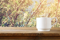 Cup of coffee a wooden table in front of spring landscape Royalty Free Stock Photos
