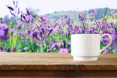 Cup of coffee a wooden table in front of spring landscape Royalty Free Stock Images