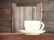 Cup coffee on wooden teble old wood background Stock Photo