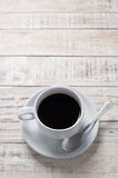Cup of coffee on wooden table for relax time Stock Photo
