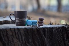 Cup of coffee on a wooden table. In the sun with sparkles and blur in the background. ecological breakfast. Macarons with blue and chocolate biscuits Royalty Free Stock Photos