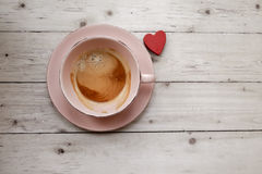 Cup of coffee on wooden table, top view Royalty Free Stock Photography