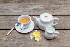 Cup of coffee with on wooden tables Stock Photo