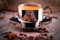 Cup of Coffee on wooden vintage table Royalty Free Stock Photo