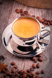 Cup of Coffee on wooden vintage table Stock Images