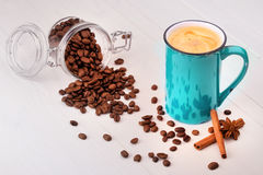 Cup of Coffee on wooden vintage table Royalty Free Stock Image