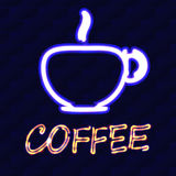 Cup of coffee and the word coffee with neon effect on a background of a brick wall. Vector illustration Royalty Free Stock Images