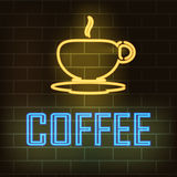 Cup of coffee and the word coffee with neon effect on a background of a brick wall. Vector illustration Stock Image