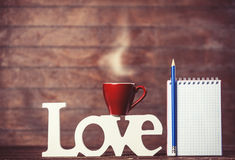 Cup of coffee with word Love Royalty Free Stock Photography