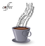 Cup of coffee and words Stock Photo