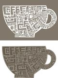 A cup of coffee words. Vector illustration of a cup of coffee created by words `coffee Stock Images