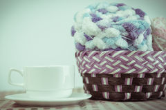Cup of coffee and yarn balls. Cup of coffee and Knitting yarn balls Stock Image