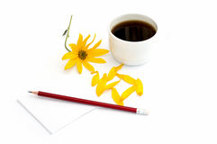 Cup of coffee, yellow flower, petals and pencil with paper Stock Image