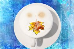 Autumn breakfast with a leaf of a maple Royalty Free Stock Image