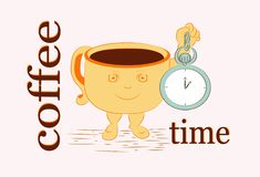 Cup_coffee-Zeit stock abbildung