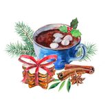 Cup of coffee with zephyr, heap cookies, anise, cinnamon and firtree branch. Watercolor hand-drawn object isolated vector illustration