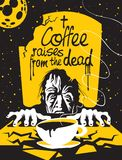 Cup of coffee and zombie in the cemetery at night. Vector illustration of coffee theme with a full cup of hot coffee, inscription and the zombie emerge from the vector illustration
