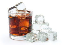 Cup of cola and ice Royalty Free Stock Photo