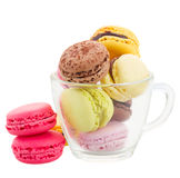 Cup  of coloful macaroons Stock Photos