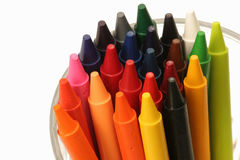 Cup of color. Cup of crayons Stock Photo
