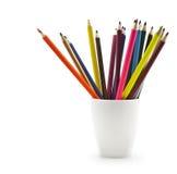 Cup of colored pencils. Up of colored pencils on white background Royalty Free Stock Photo